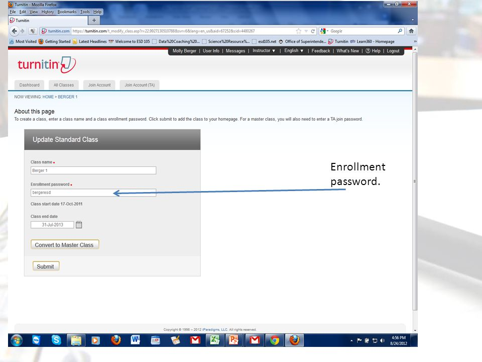Enrollment password.