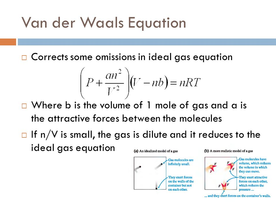 Van der Waals Equation Corrects some omissions in ideal gas equation