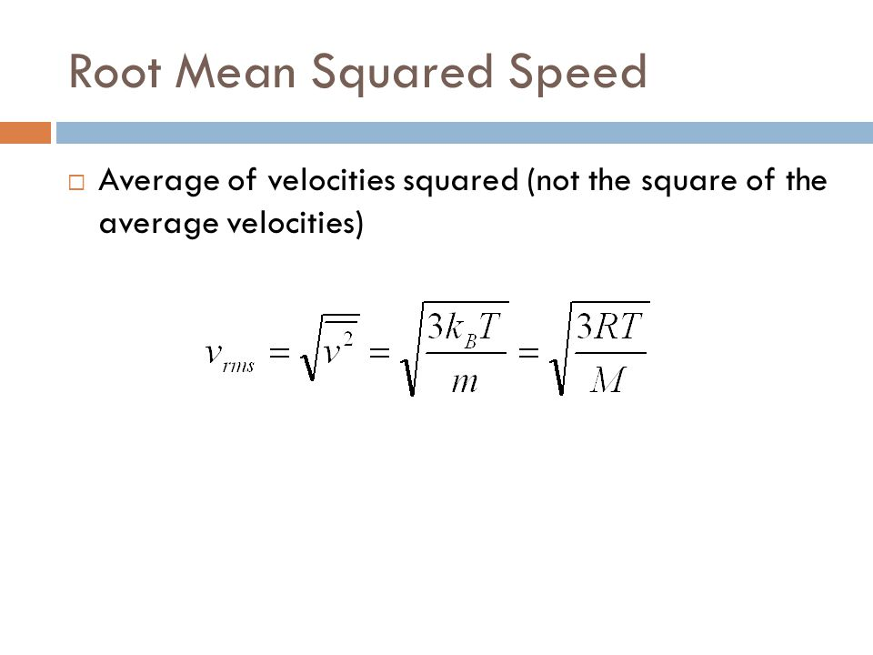 Root Mean Squared Speed
