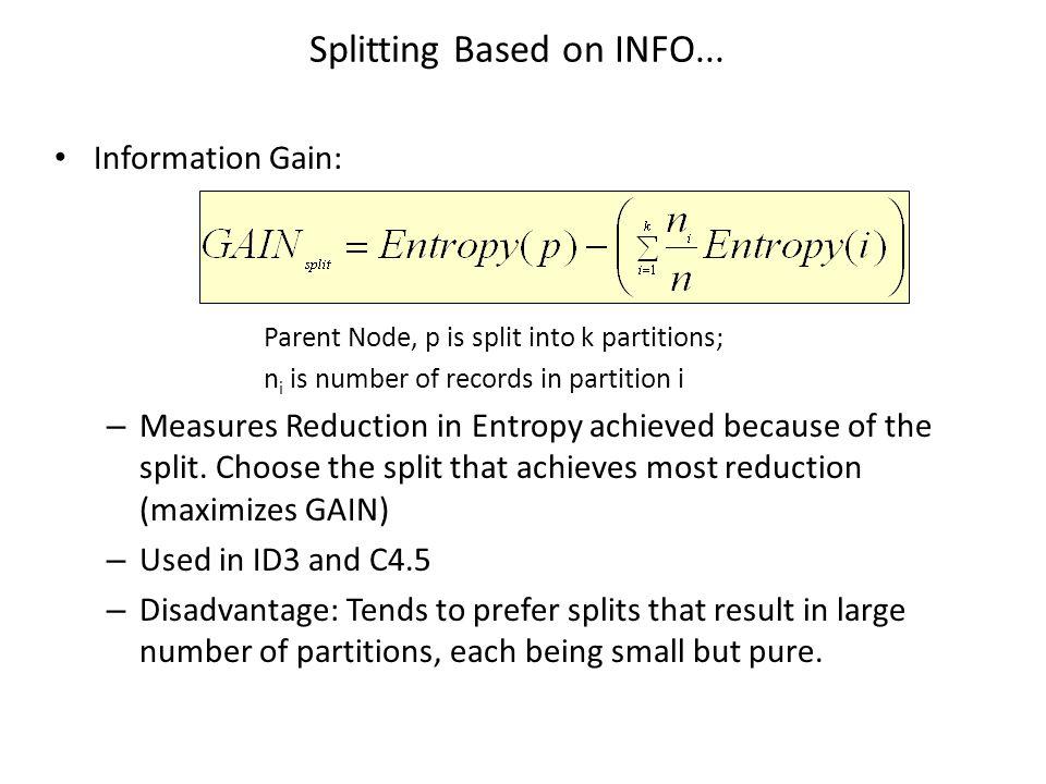 Splitting Based on INFO...