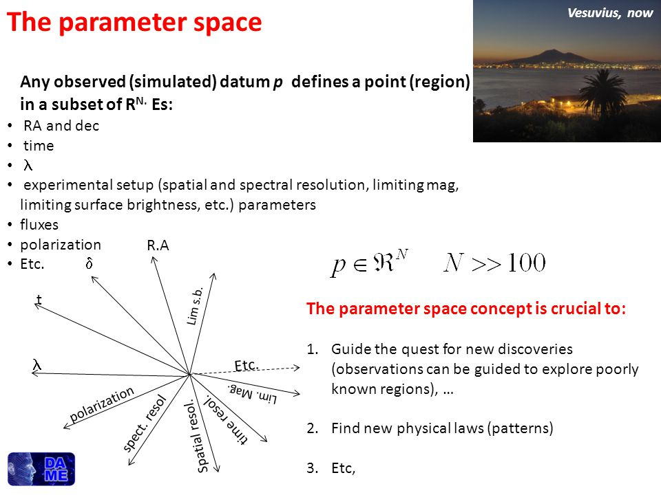 The parameter space Vesuvius, now. Any observed (simulated) datum p defines a point (region) in a subset of RN. Es: