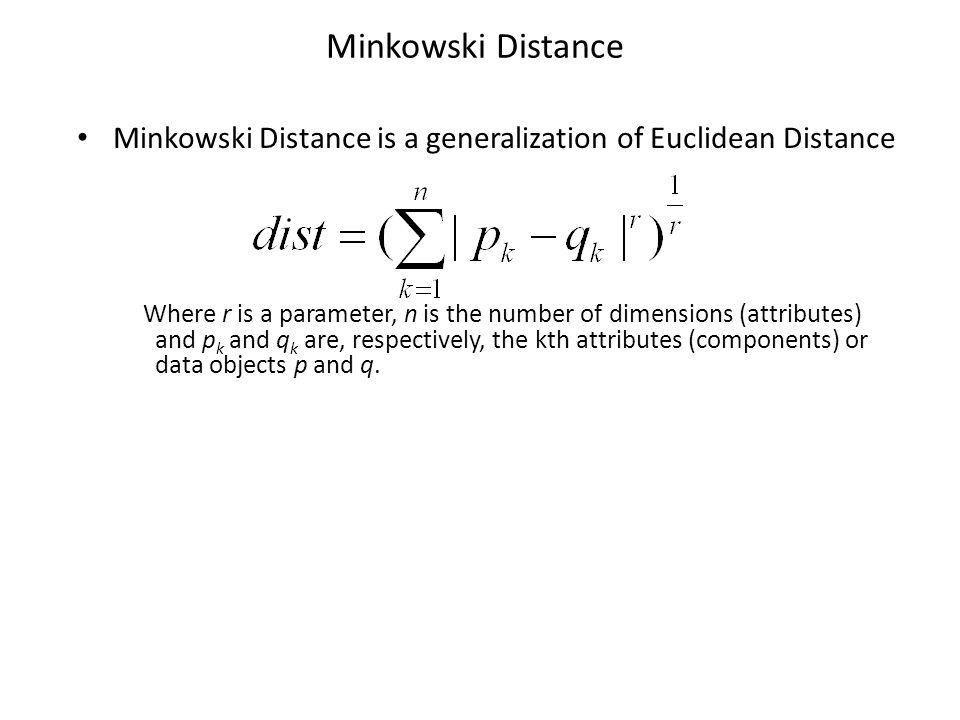 Minkowski Distance Minkowski Distance is a generalization of Euclidean Distance.