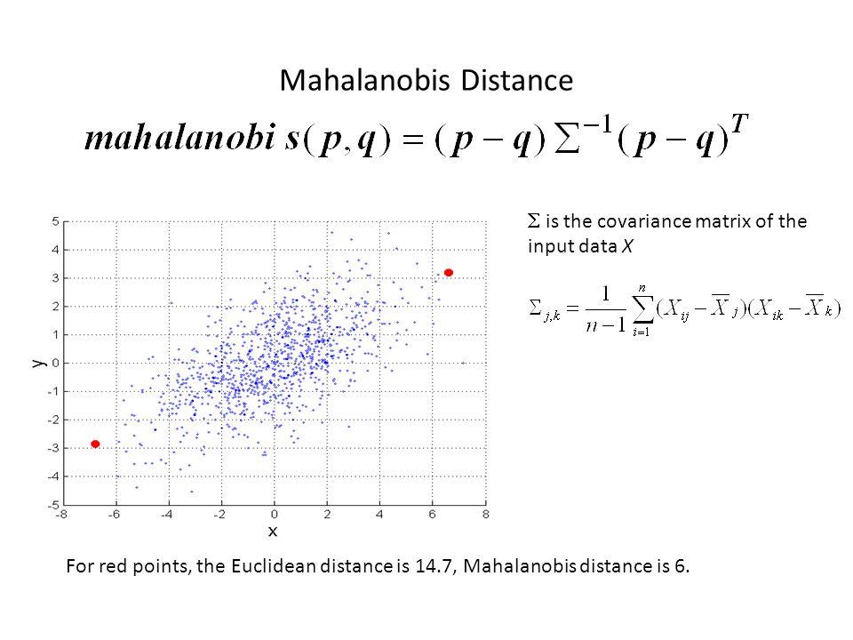 Mahalanobis Distance  is the covariance matrix of the input data X