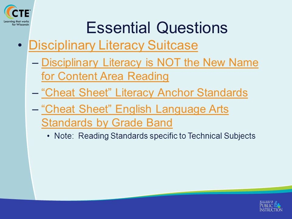 Essential Questions Disciplinary Literacy Suitcase