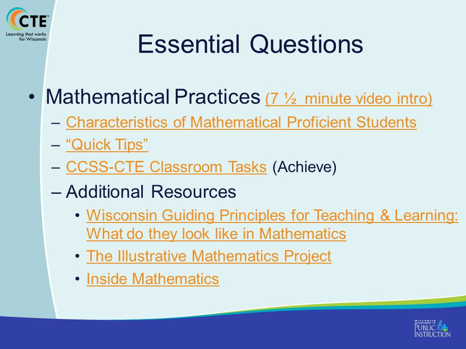 Essential Questions Mathematical Practices (7 ½ minute video intro)