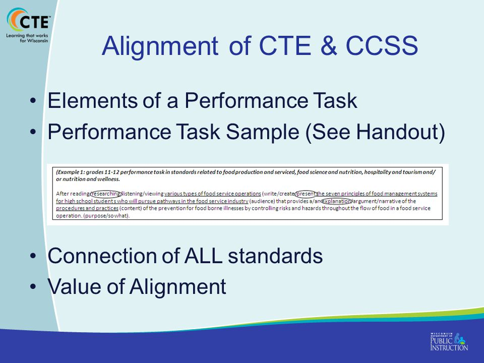 Alignment of CTE & CCSS Elements of a Performance Task
