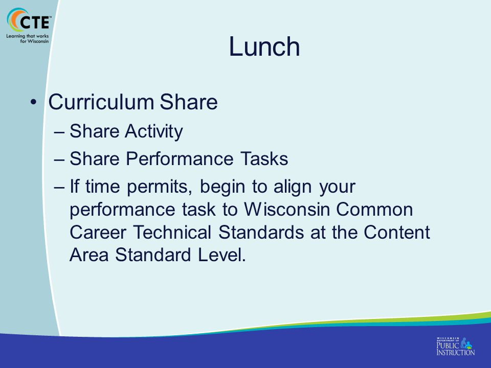 Lunch Curriculum Share Share Activity Share Performance Tasks