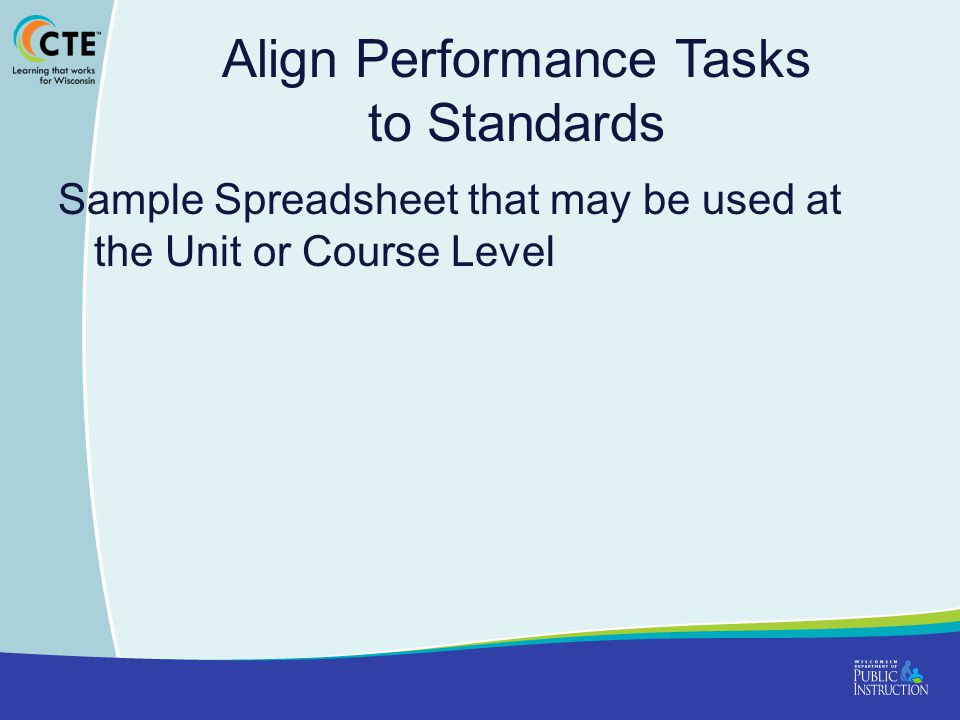 Align Performance Tasks to Standards