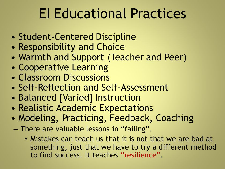 EI Educational Practices