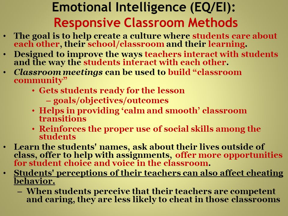 Emotional Intelligence (EQ/EI): Responsive Classroom Methods