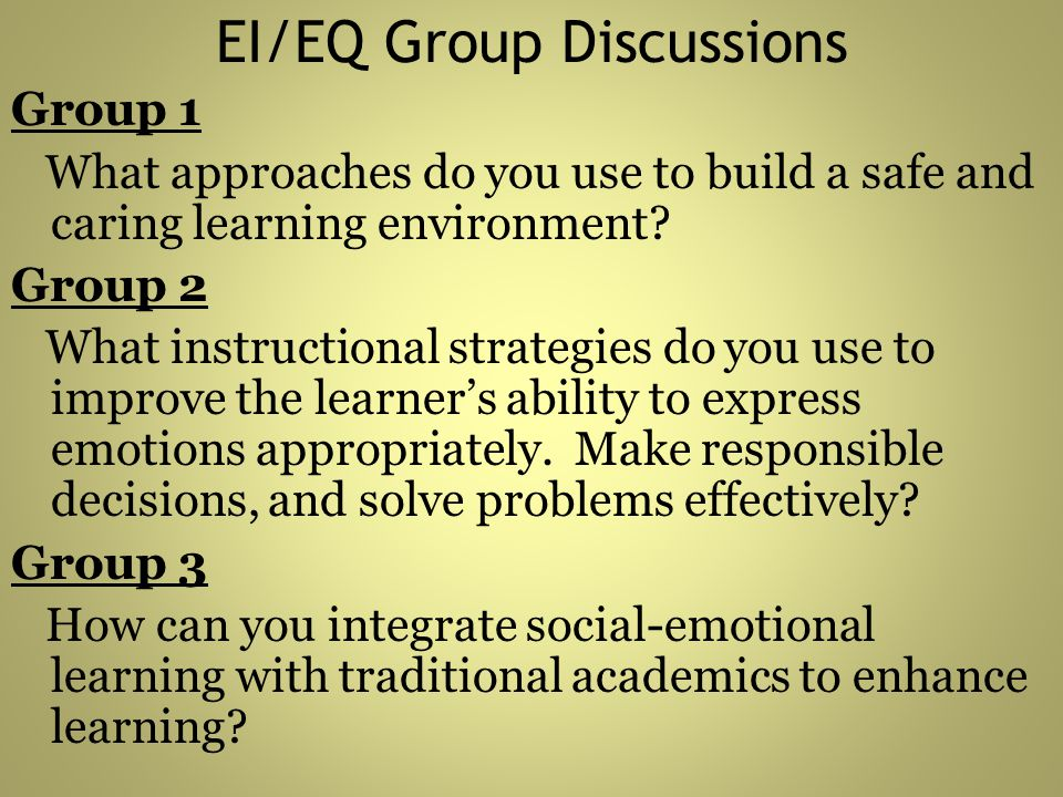 EI/EQ Group Discussions