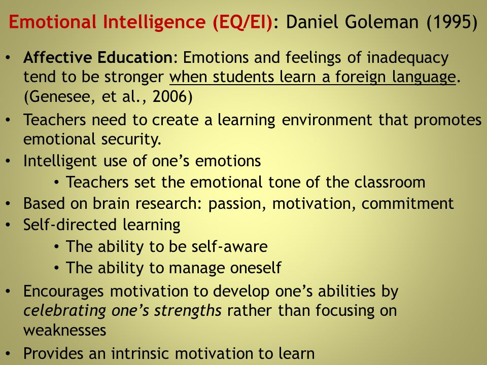 Emotional Intelligence (EQ/EI): Daniel Goleman (1995)