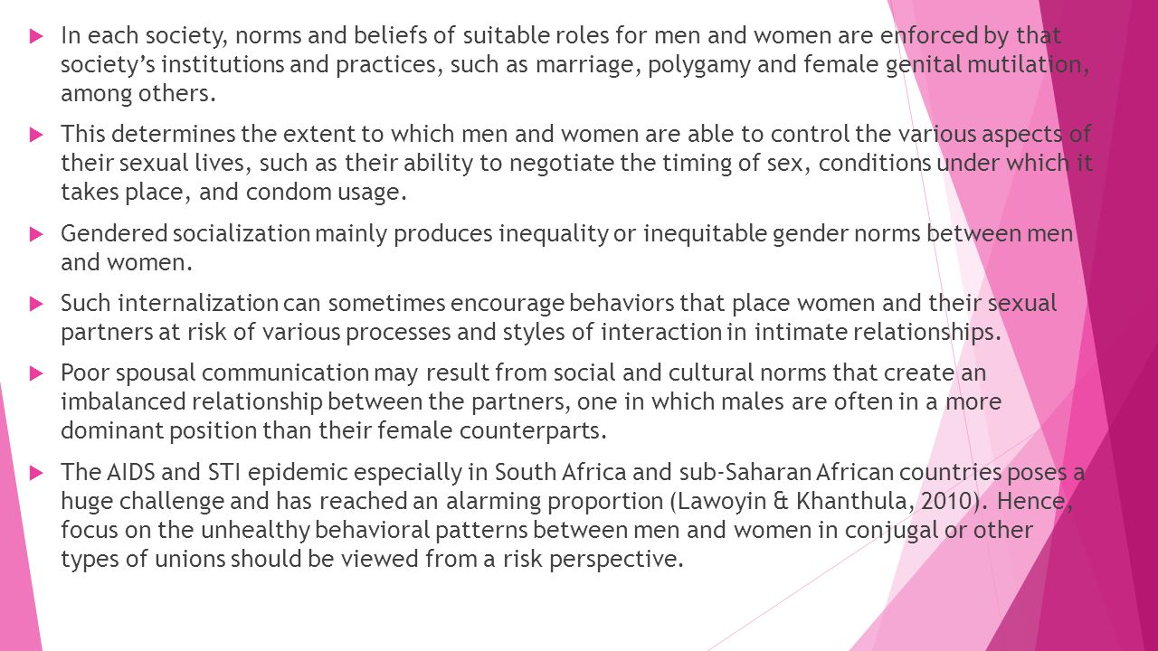 In each society, norms and beliefs of suitable roles for men and women are enforced by that society's institutions and practices, such as marriage, polygamy and female genital mutilation, among others.