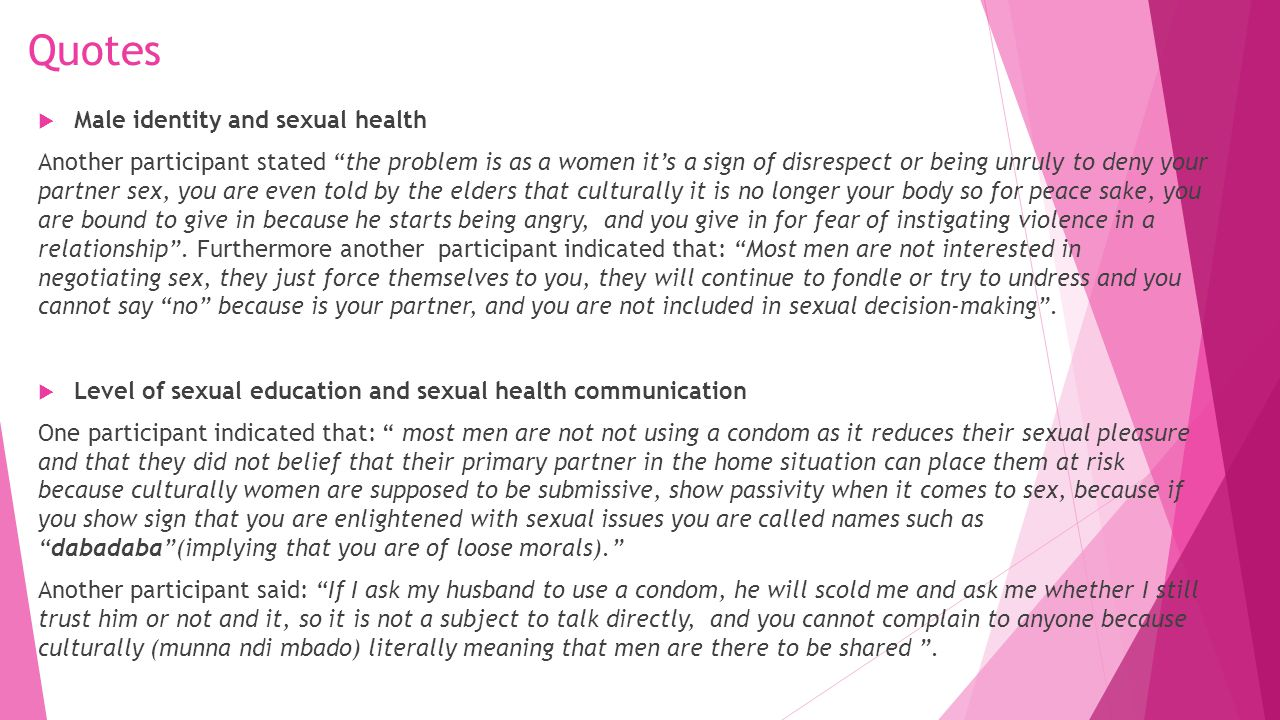 Quotes Male identity and sexual health