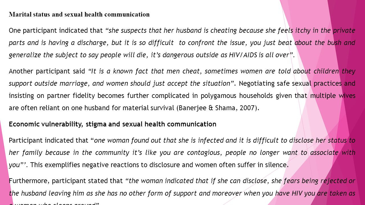 Marital status and sexual health communication