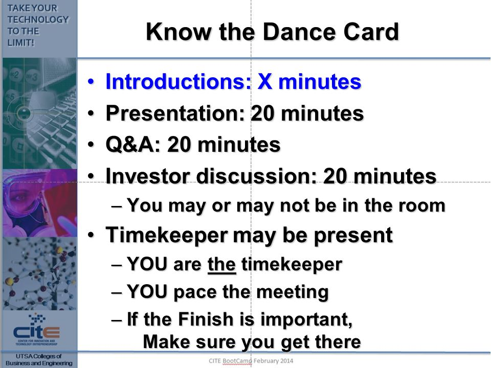 Know the Dance Card Introductions: X minutes Presentation: 20 minutes