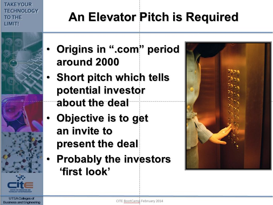 An Elevator Pitch is Required