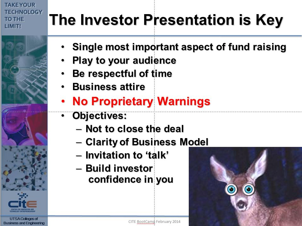 The Investor Presentation is Key