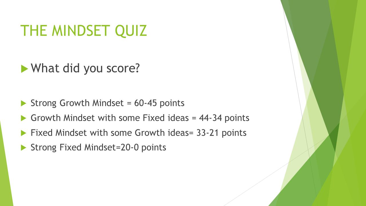 THE MINDSET QUIZ What did you score