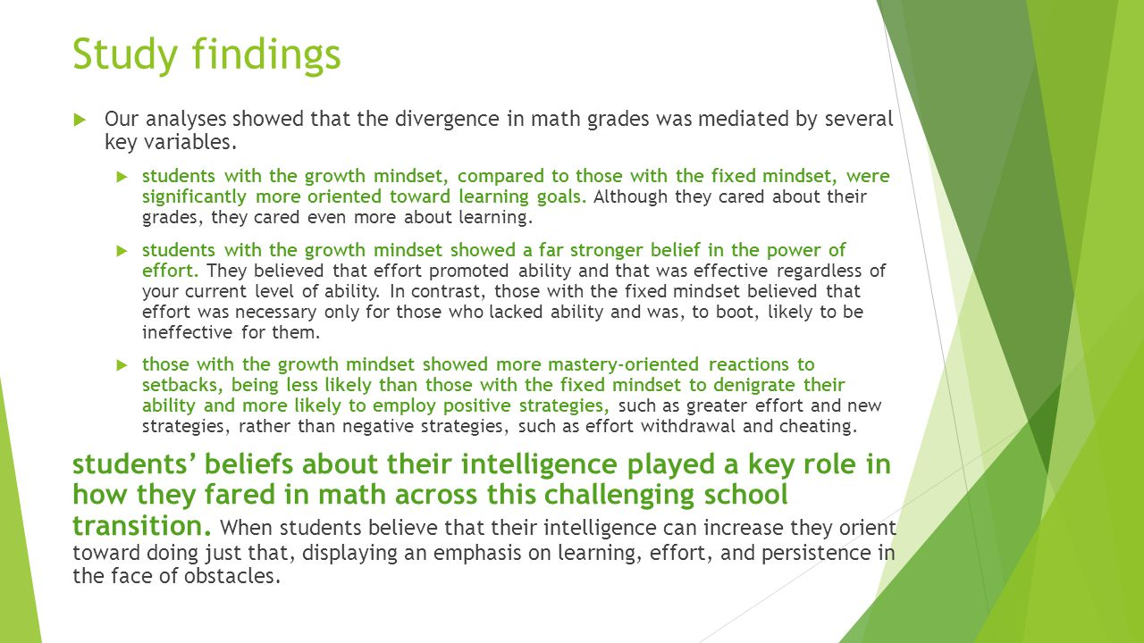 Study findings Our analyses showed that the divergence in math grades was mediated by several key variables.