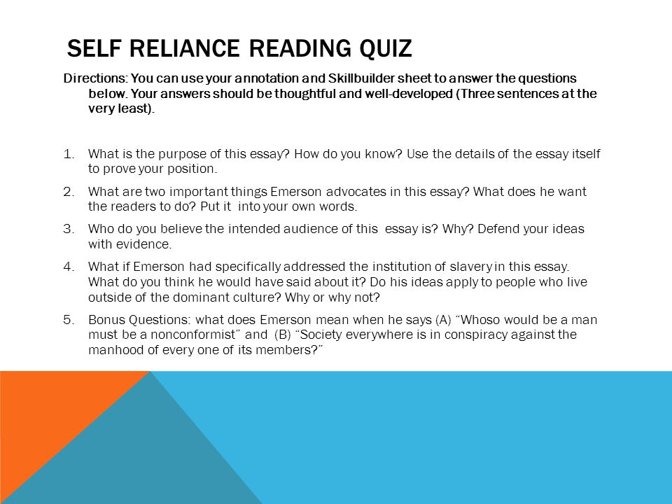 self reliance paper essay Read self reliance in walden free essay and over 88,000 other research documents self reliance in walden self reliance the summer of 1845 found henry david thoreau.