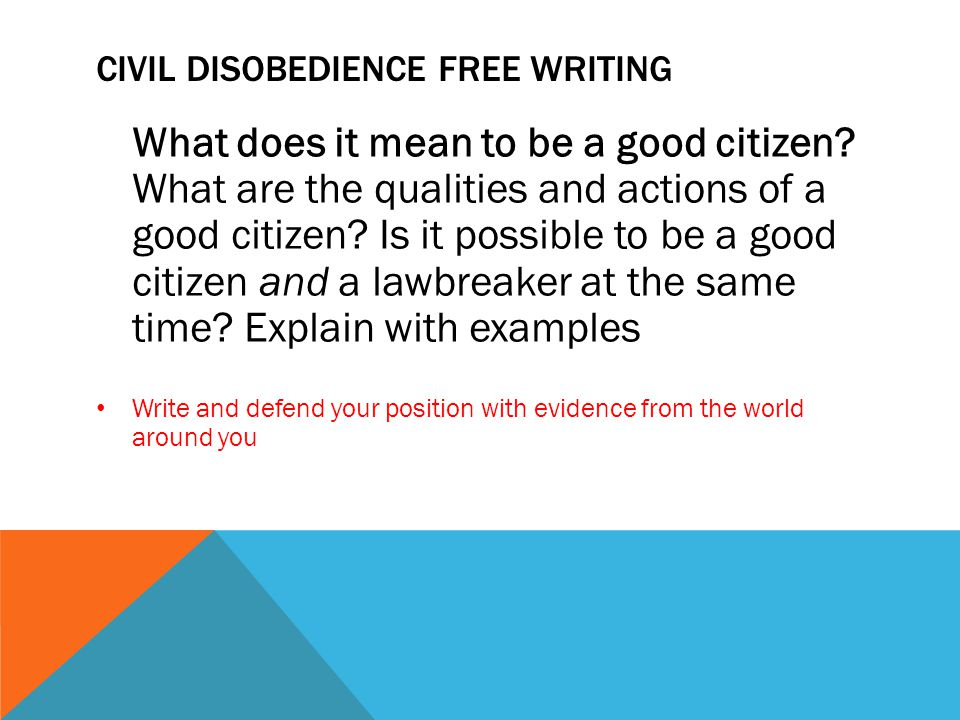 Civil Disobedience Free Writing