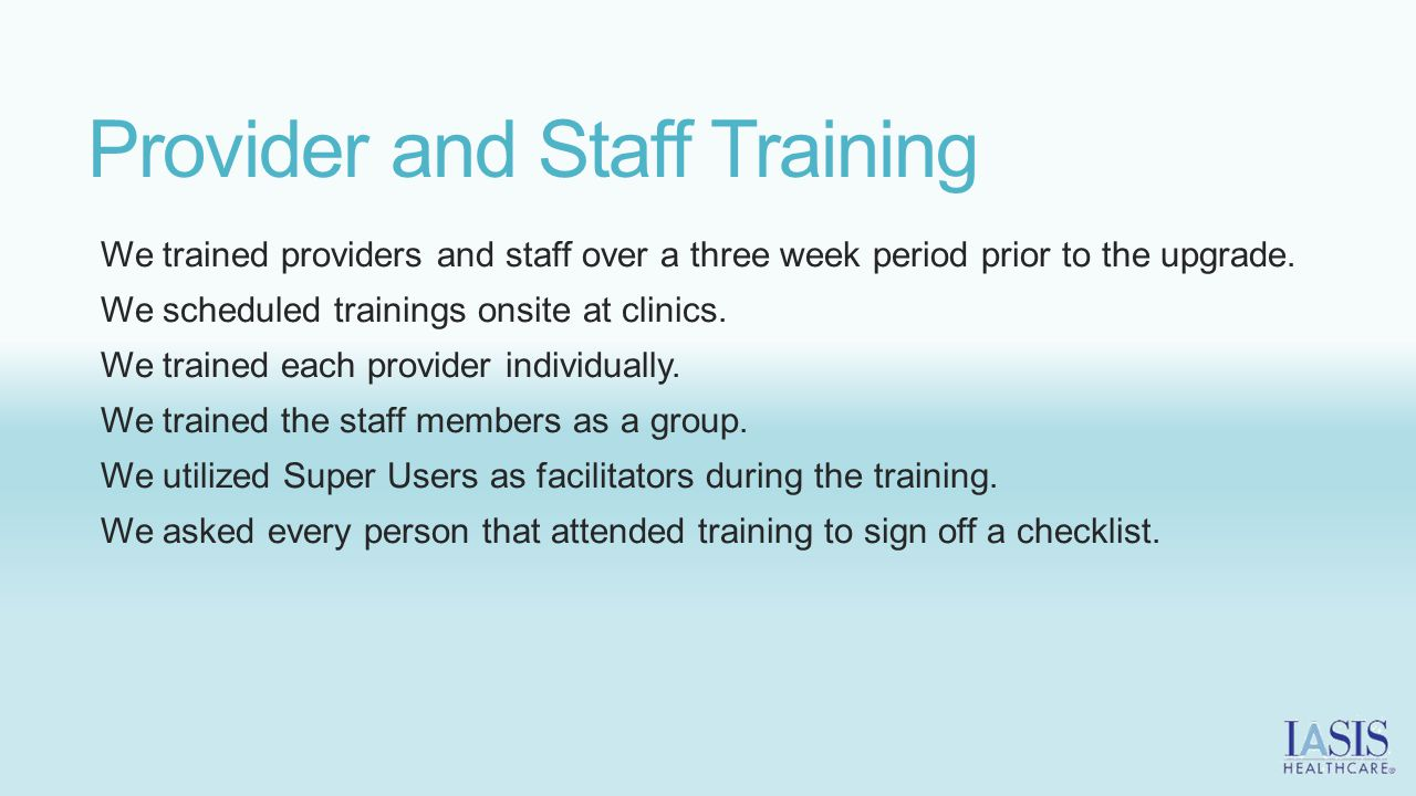 Provider and Staff Training