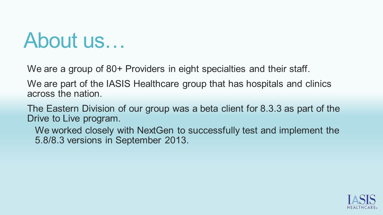 About us… We are a group of 80+ Providers in eight specialties and their staff.