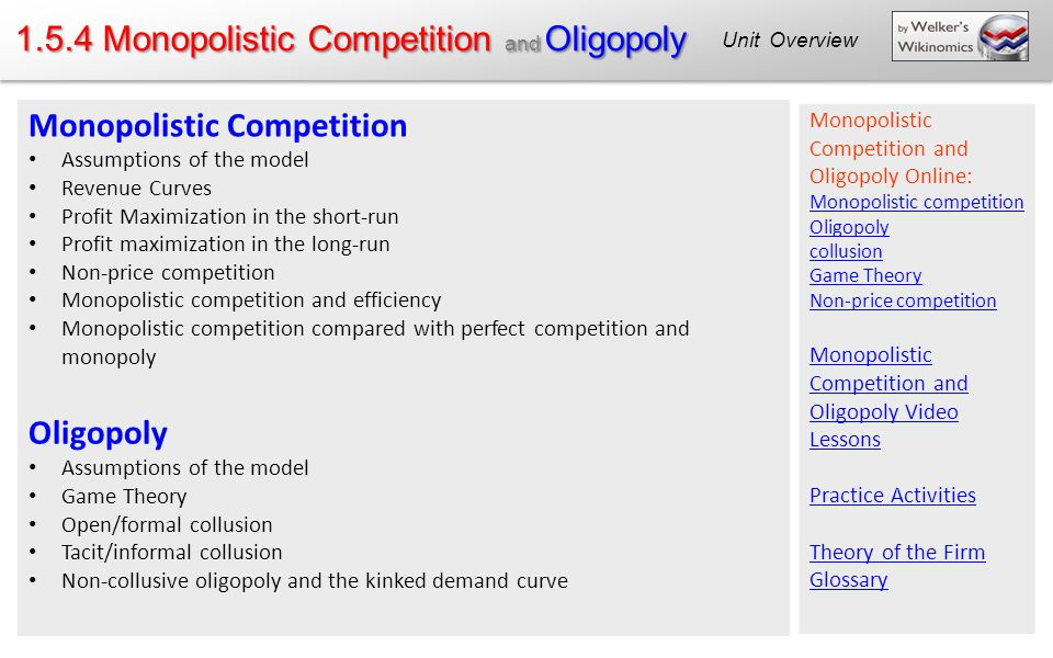 1.5.4 Monopolistic Competition and Oligopoly Monopolistic Competition