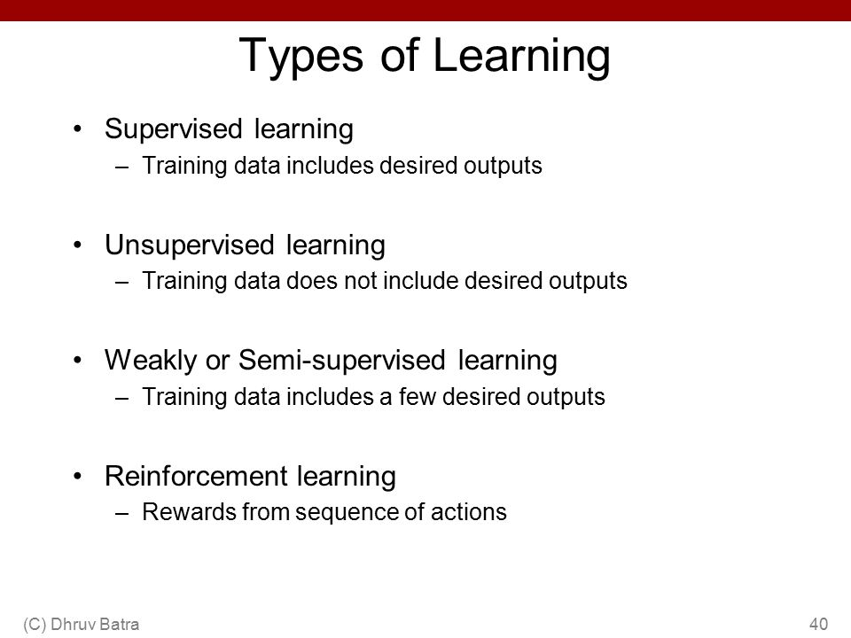 Types of Learning Supervised learning Unsupervised learning