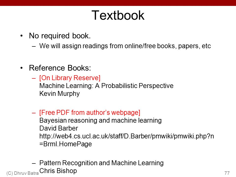Textbook No required book. Reference Books: