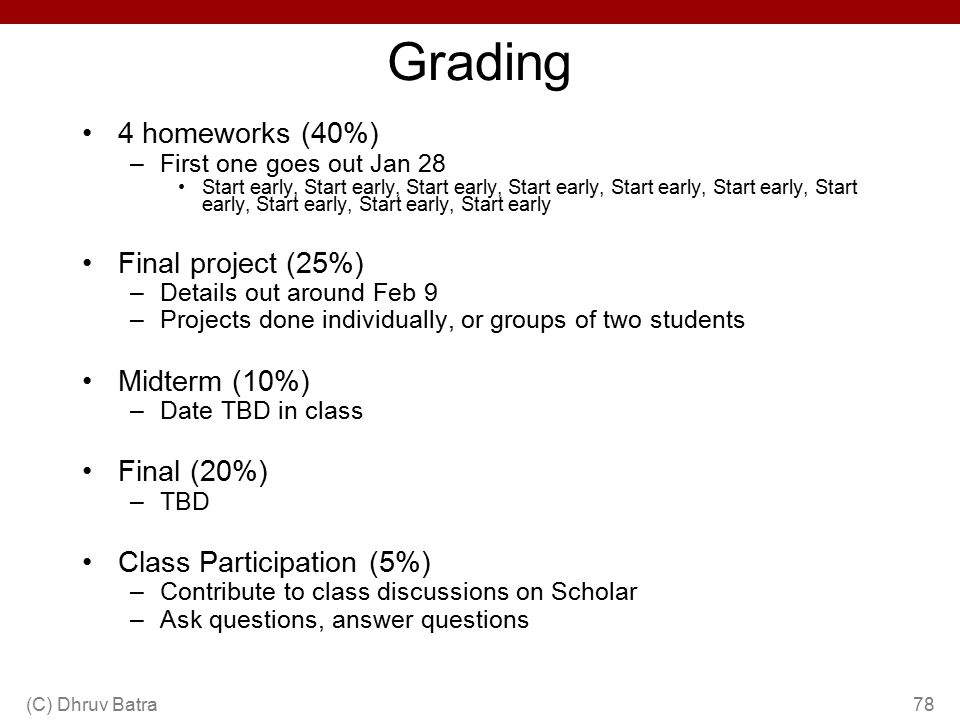 Grading 4 homeworks (40%) Final project (25%) Midterm (10%)