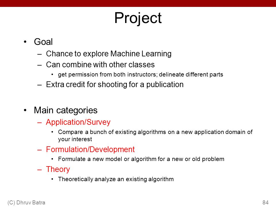 Project Goal Main categories Chance to explore Machine Learning