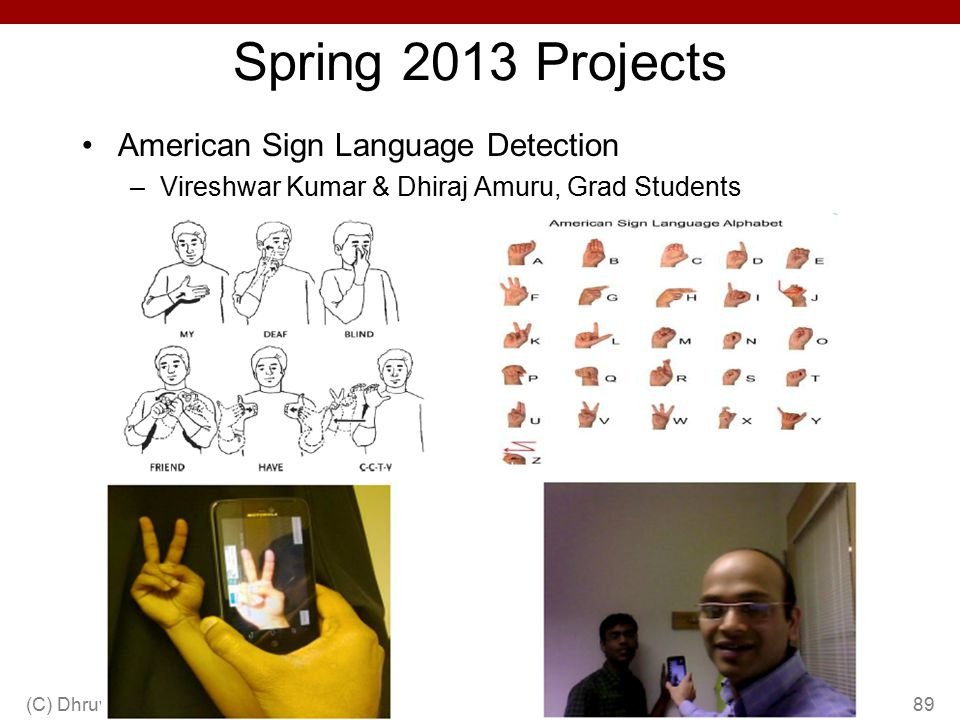 Spring 2013 Projects American Sign Language Detection