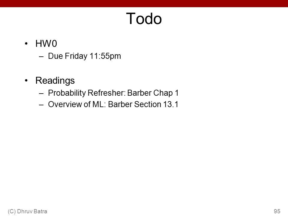 Todo HW0 Readings Due Friday 11:55pm