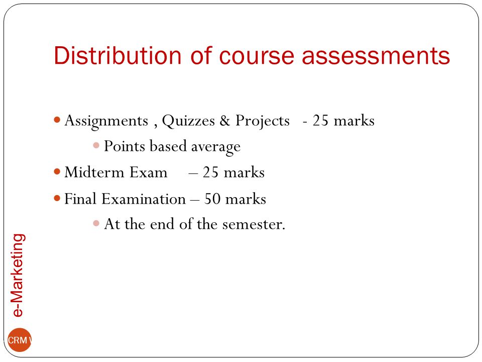 Distribution of course assessments