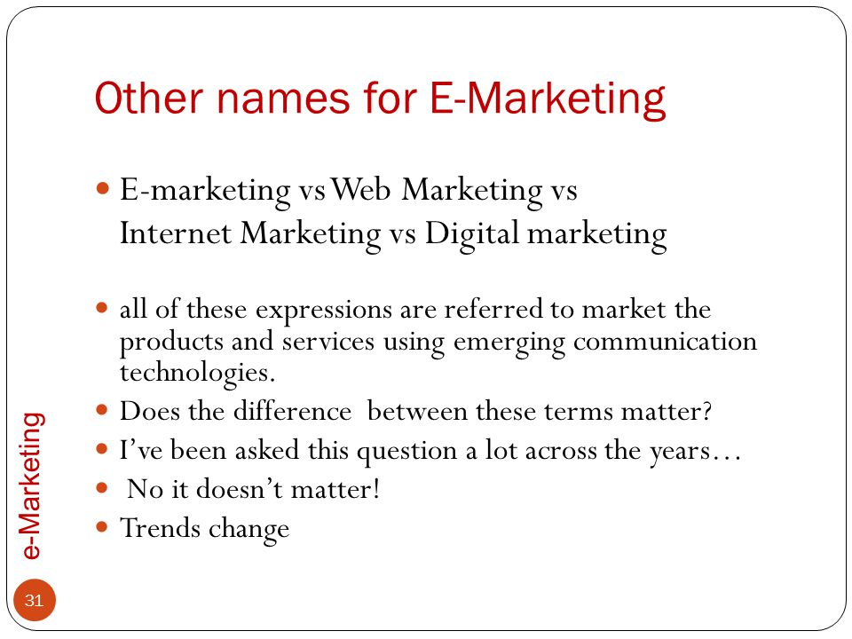 Other names for E-Marketing