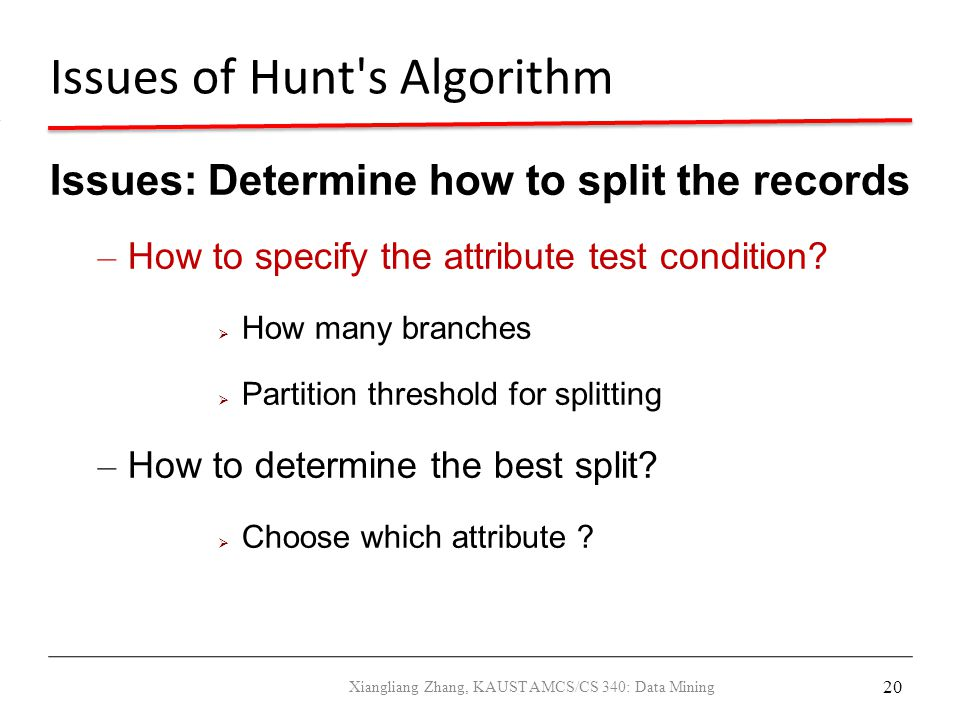 Issues of Hunt s Algorithm