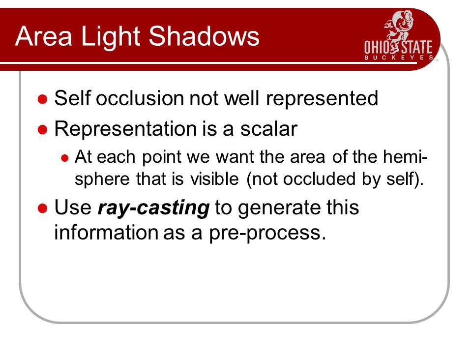 Area Light Shadows Self occlusion not well represented