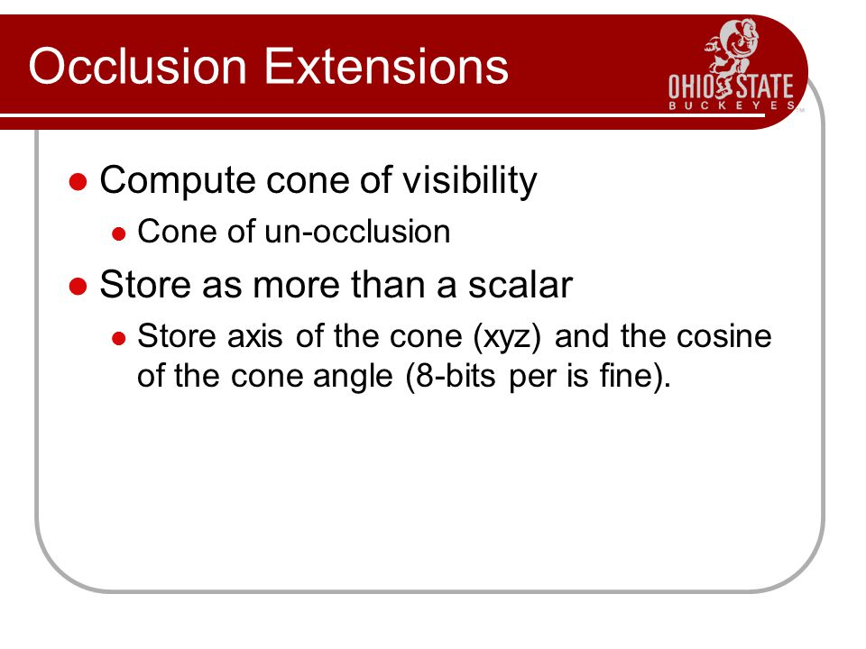 Occlusion Extensions Compute cone of visibility