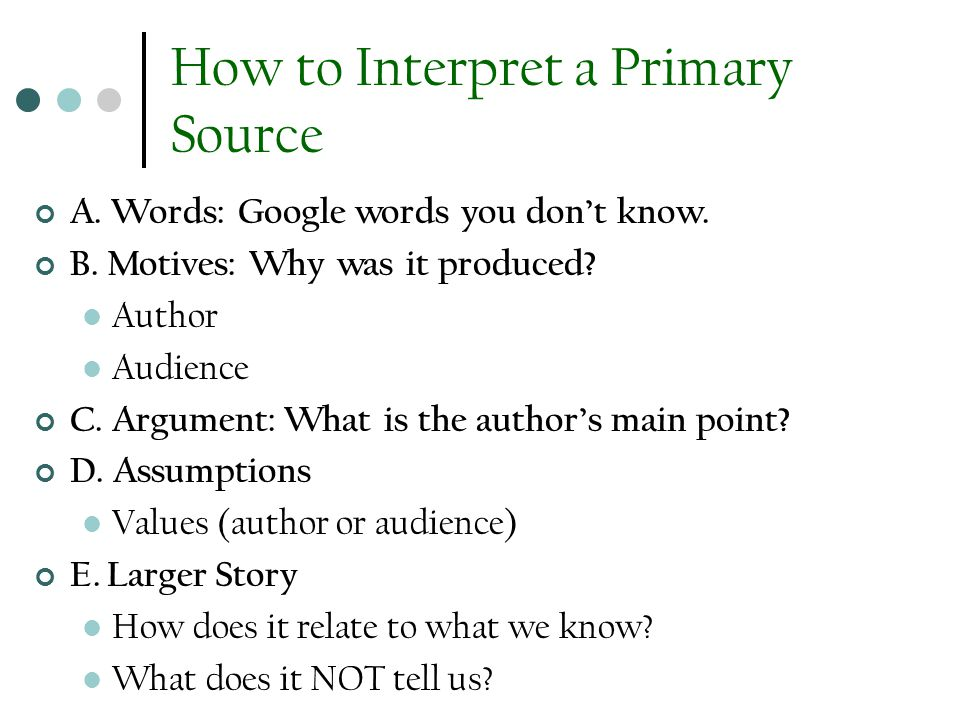 How to Interpret a Primary Source