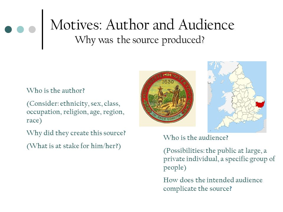 Motives: Author and Audience Why was the source produced