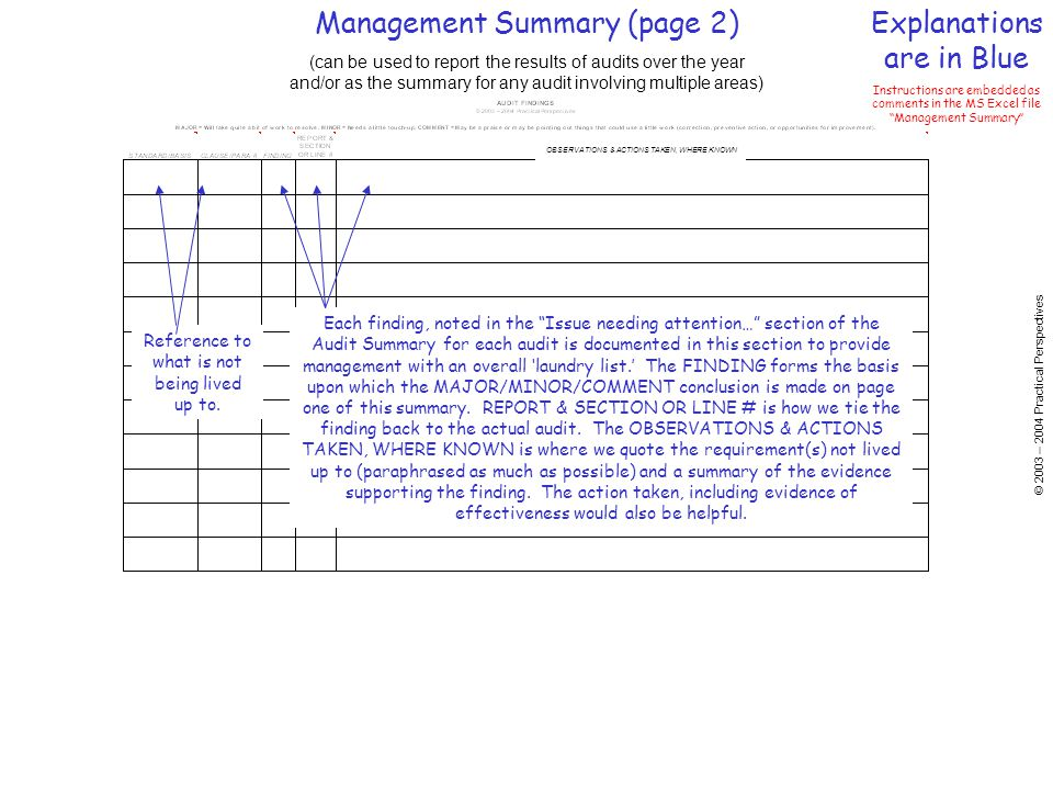 Management Summary (page 2) Explanations are in Blue