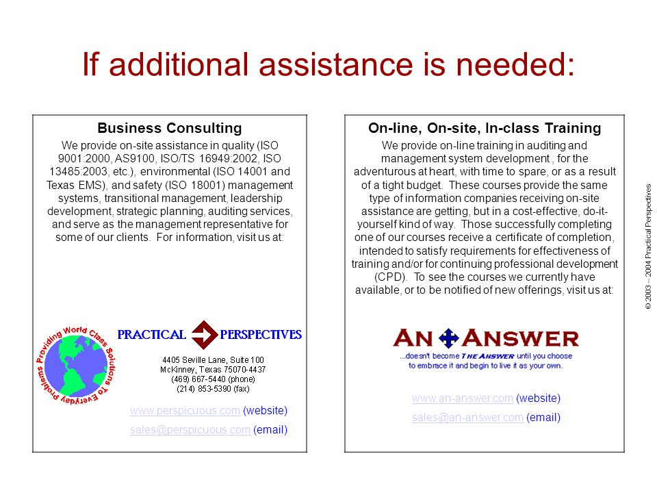 If additional assistance is needed: