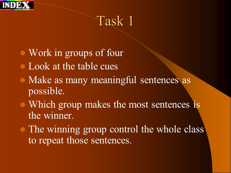 Task 1 Work in groups of four Look at the table cues