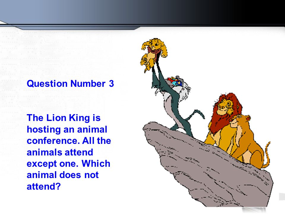 Question Number 3 The Lion King is hosting an animal conference.