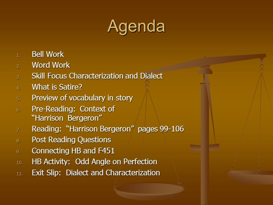 Agenda Bell Work Word Work Skill Focus Characterization and Dialect