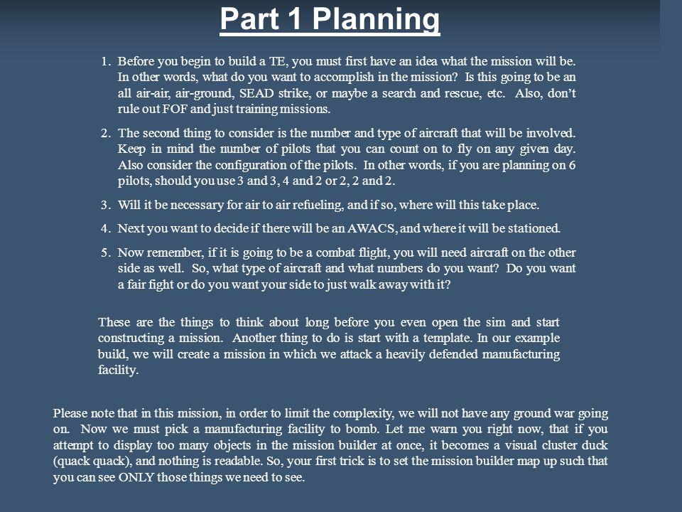 Part 1 Planning