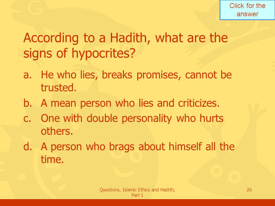 According to a Hadith, what are the signs of hypocrites