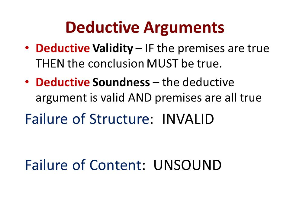 Deductive Arguments Failure of Structure: INVALID